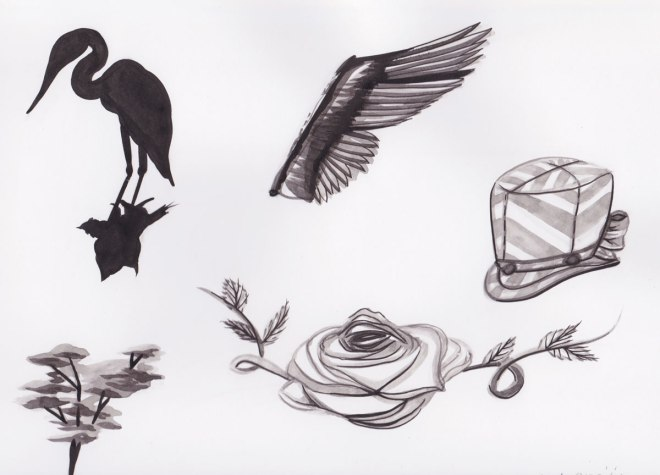 A little group of Sumi paintings.   Heron, Heron Wing, Mother Heron's Hat, and Rose, and a tree