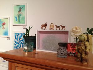 I can't leave everything out, but some of my decorations and inspirations stay out for the artwalk.