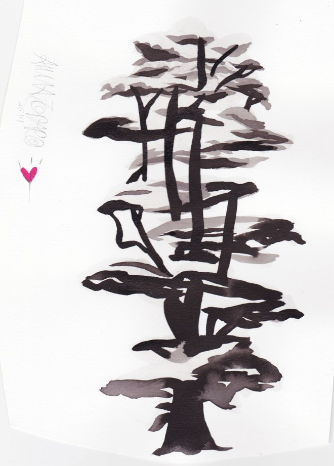 A full Sumi Ink Painting