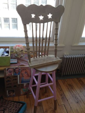 "I went on facebook to see if one of my crafty friends might have a way for me to take the old shelf chair back and attach it to a 30"" stool (found on craigslist)"