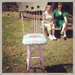 "And Whooolah- A certifiable, 30"" tall, Whimsical, Magical, Star backed facepaint chair for ms Anna to use at parties and fairs this summer!! msAnnaArt.com"