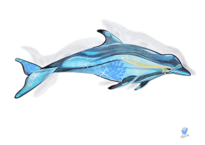 Mixed Media Dolphin Illustration, Watercolor, Ink, Acrylic, and Pencil
