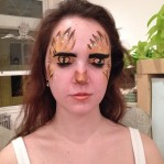 A guest decorated as an owl for the artwalk at my open studio last friday. Look at those eyes!