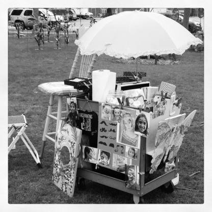 after my tent with 200 lbs of weight on it flew away in a gust of wind, I decided to bring back the infamous facepainting art cart. It turned out to be a great show and I painted a hundred or so happy wee ones and a few adults too!